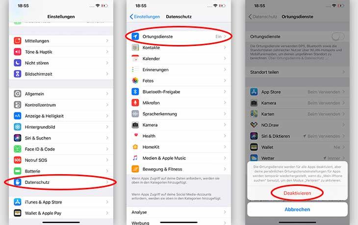 Akku sparen iOS: GPS