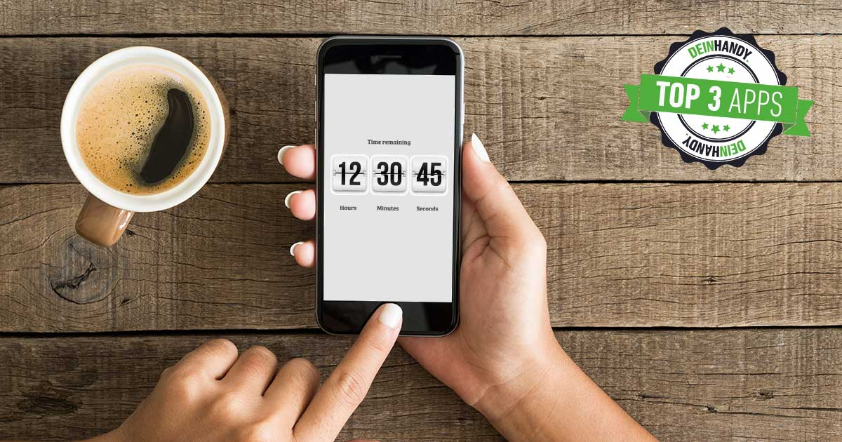 Countdown-Apps: Handy über einem Tisch