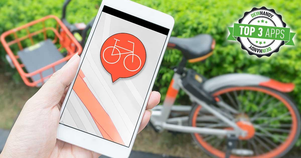 Fahrrad-App: Handy vor Fahrrad