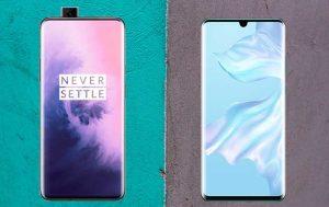 OnePlus 7 Pro vs. Huawei P30 Pro: Produktbilder der Smartphones von vorne