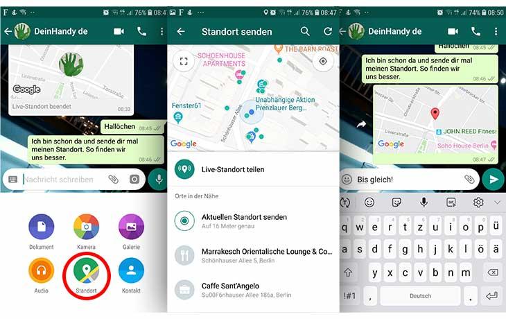 whatsapp Standort teilen Android