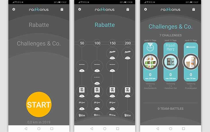 Fahrrad-App: Screenshot Radbonus