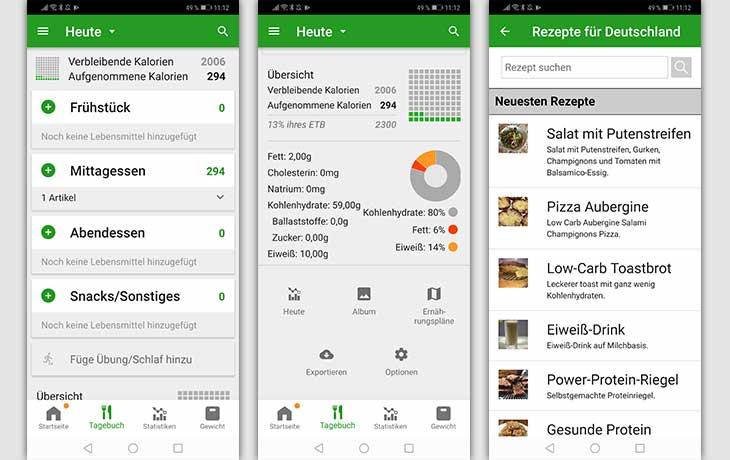 Kalorienzähler-Apps: Drei Screenshot FatSecret