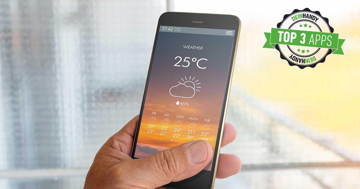 Wetter-App: Handy mit Wetteranzeige
