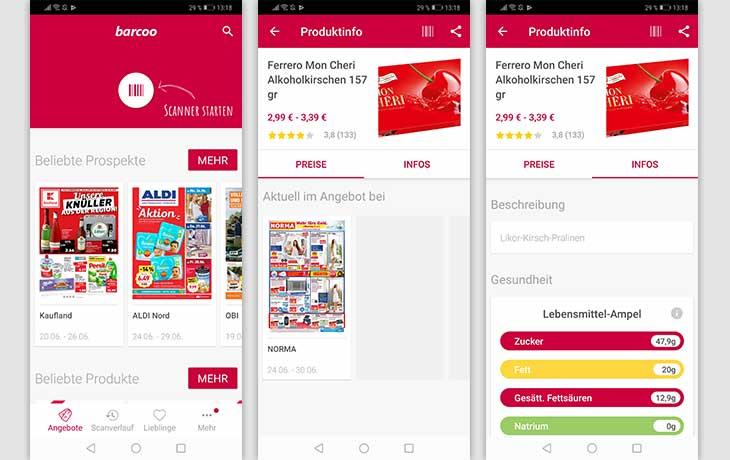 QR-Code-App: Screenshot Barcoo