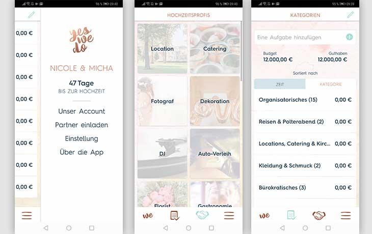 Hochzeitsplaner App YesWeDo