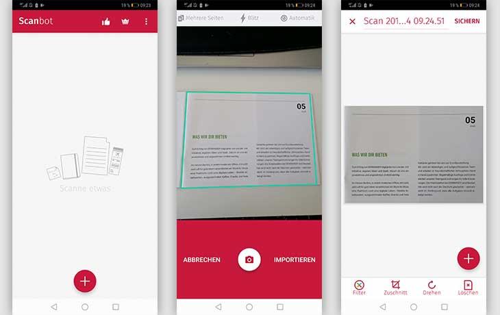 Scanner-App: Screenshot Scanbot