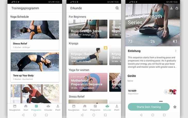 Yoga-App: Screenshots Keep Yoga