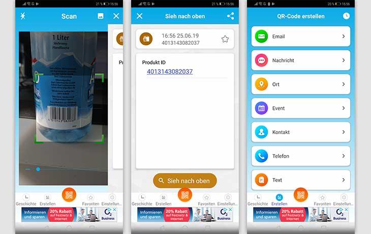 QR-Code-App: Screenshots QR Code & Barcode Scanner