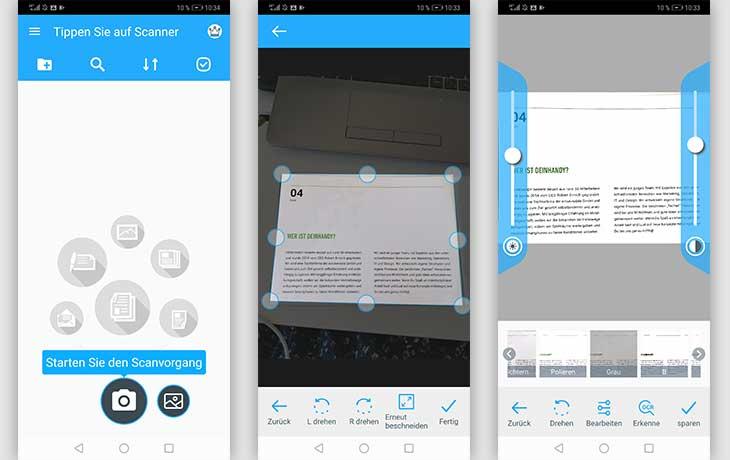 Scanner-App: Screenshots Tapscanner