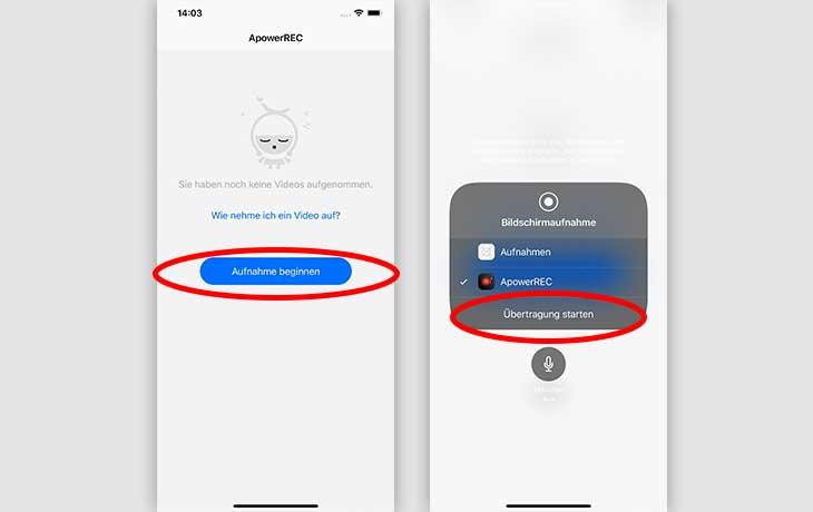 Bildschirmaufnahmen iPhone