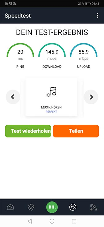 DEINHANDY App Screenshot Speed-Test
