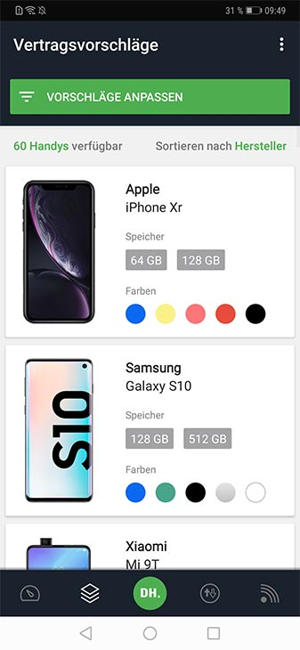 DEINHANDY App Screenshot Angebote