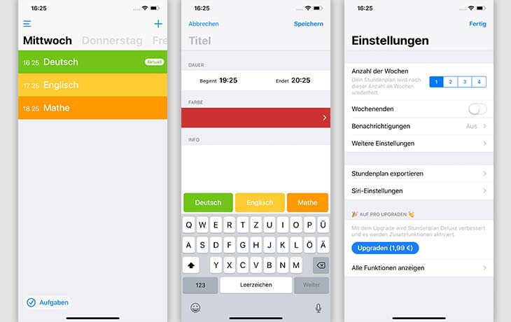 Stundenplan-App: Screenshots Stundenplan Deluxe