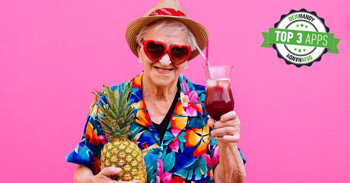 Rentencountdown: Ältere Dame mit Cocktail in der Hand