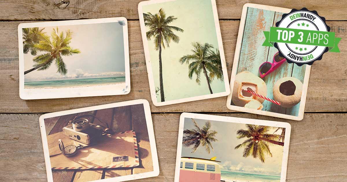 Postkarten-App: Fünf Postkarten auf einem Holztisch