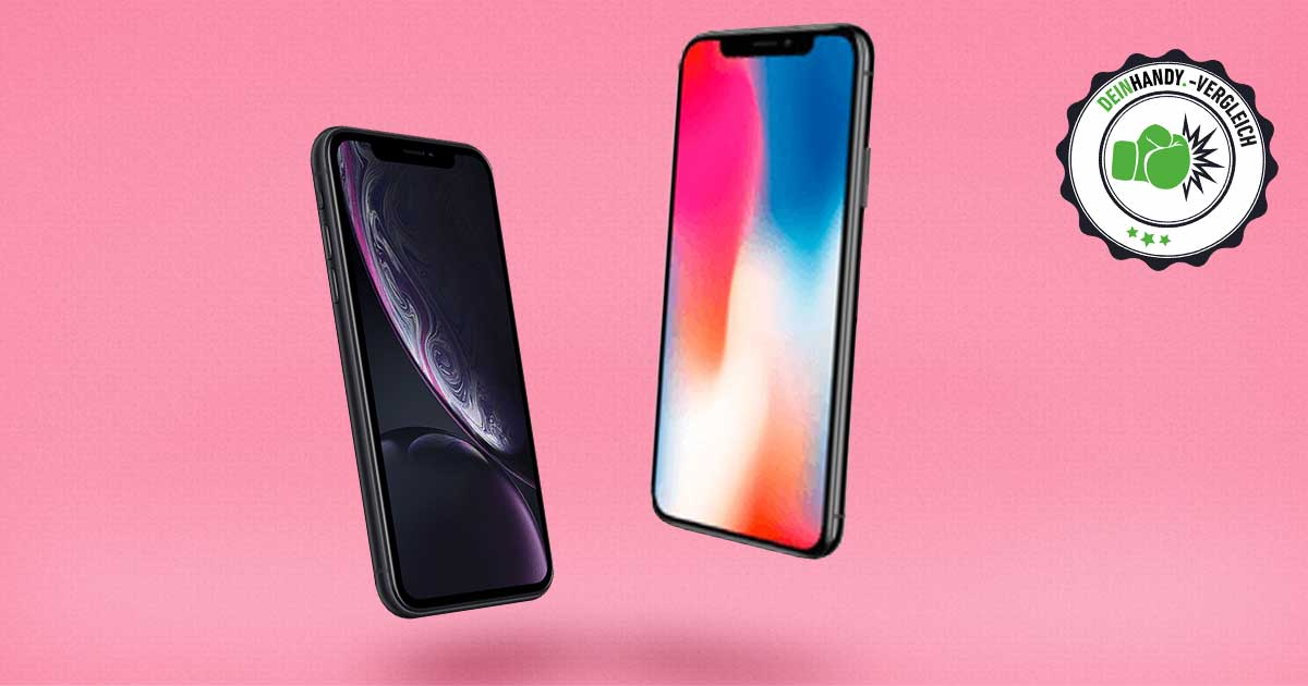 iPhone X vs. iPhone Xr: Zwei Apple Handys vor rosa Hintergrund