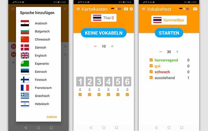Vokabeltrainer-App: Screenshots Vokabelbox