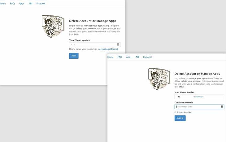 Telegram-Account löschen: Website
