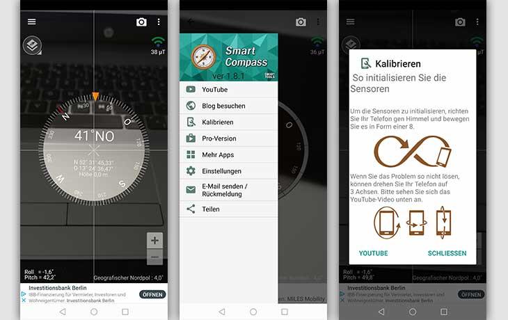 Kompass-App: Screenshots Smart Compass