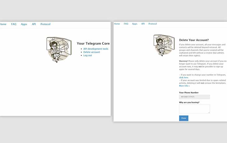Telegram-Account löschen