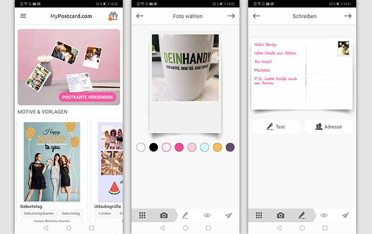 Postkarten-App: Screenshot MyPostcard