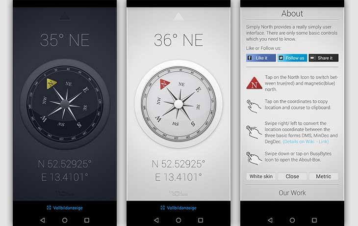 Kompass-App: Screenshots SImply North