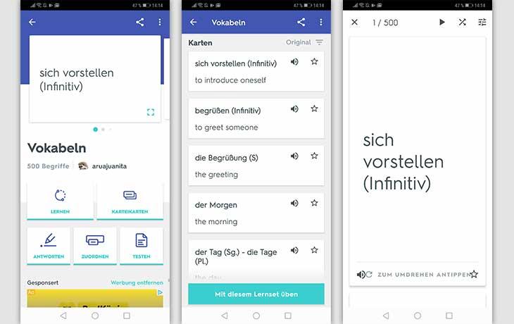 Vokabeltrainer-App: Screenshots Quizlet