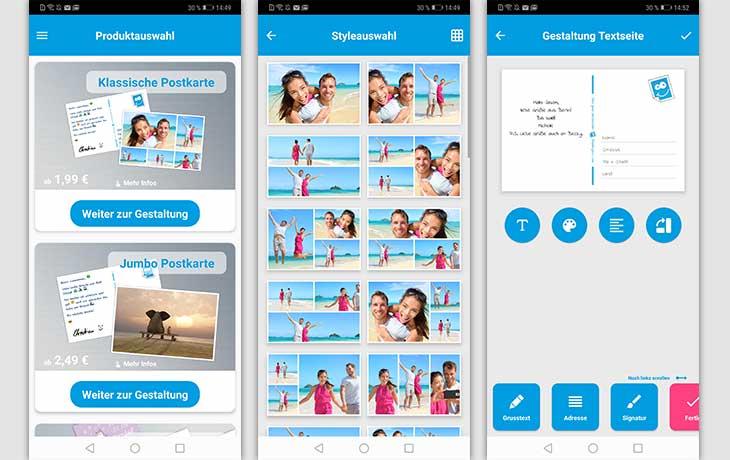 Postkarten-App: Screenshots Urlaubsgruss Postkarten