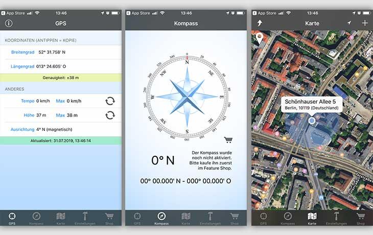 Kompass-App: Screenshots GPS & Maps