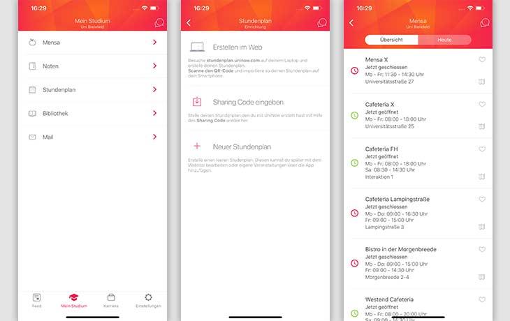 Stundenplan-App: Screenshots UniNow