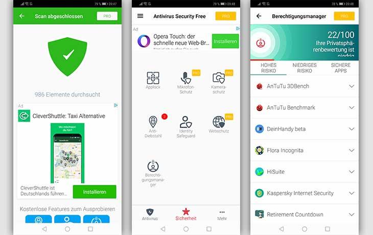 Avira Antivirus Apps Screenshots