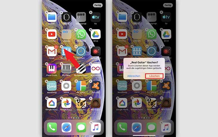iPhone Apps löschen Anleitung