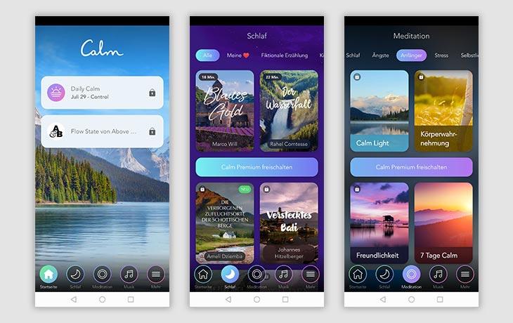 Meditations-App: Screenshots Calm
