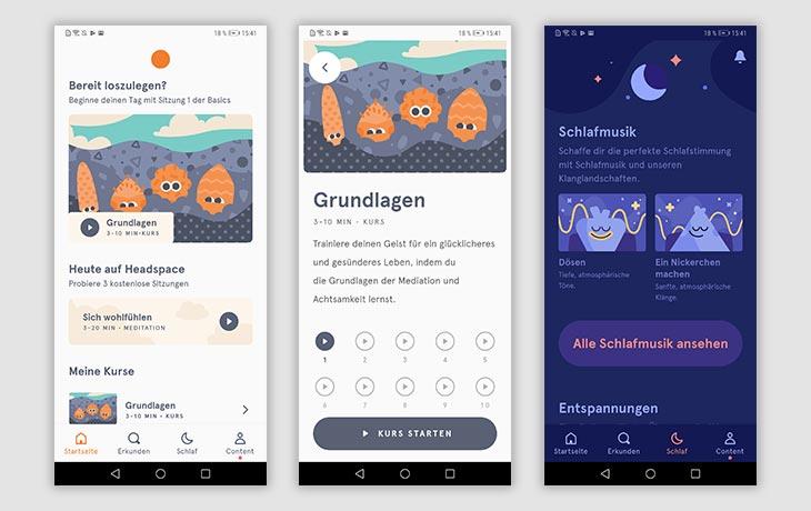 Meditations-App: Screenshots Headspace
