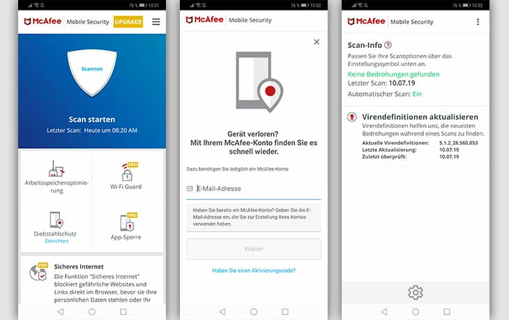 McAfee App Screenshots