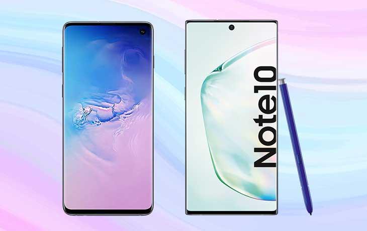 Galaxy Note 10 und Galaxy S10 Front