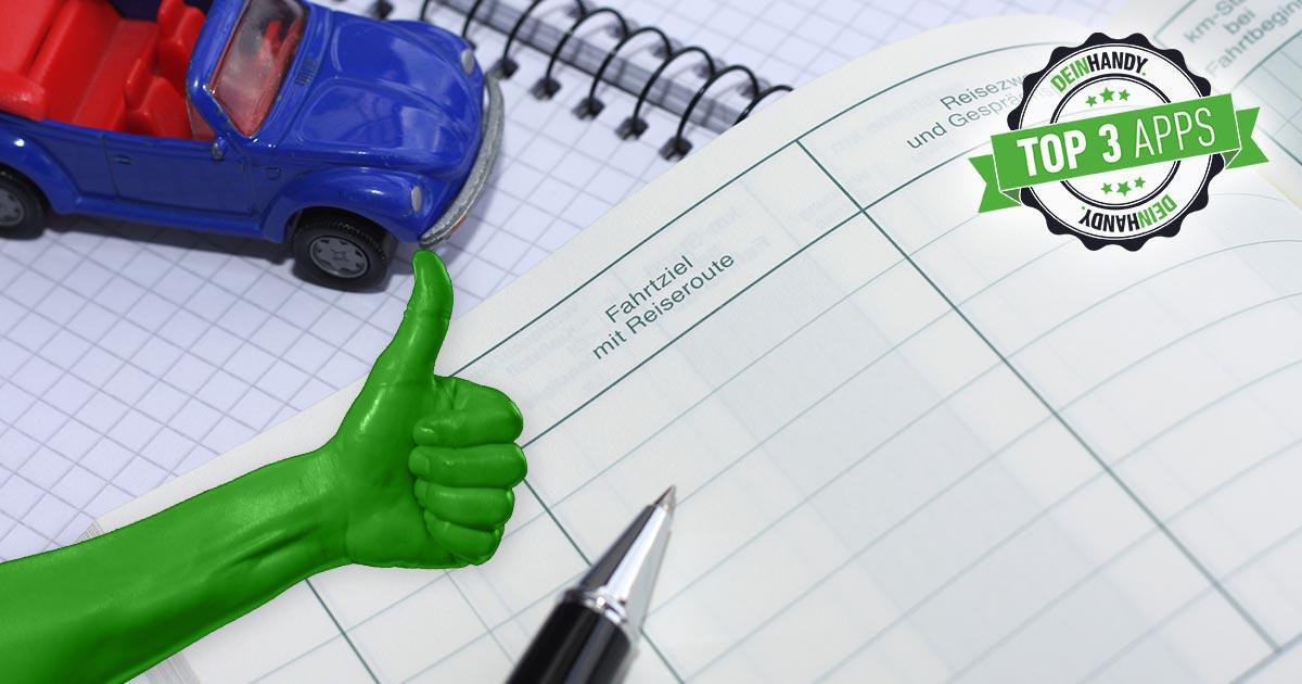 Fahrtenbuch-App: Block, Stift und Auto auf einem weiteren Block