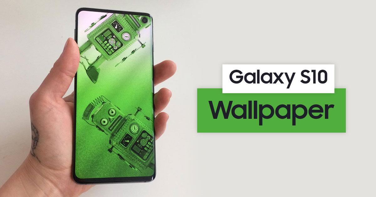 Samsung Galaxy S10 Wallpaper: Handy mit Galaxy S10 und Roboter Wallpaper