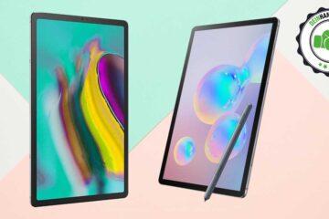 Galaxy Tab S6 vs. Tab S5e: Beide Tablets nebeneinander, mit Vergleichsstempel