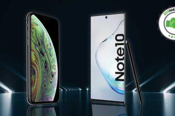 Galaxy Note 10 vs. iPhone Xs: Zwei Smartphones vor schwarzem Hintergrund