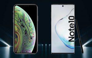 Galaxy Note 10 vs. iPhone Xs: Vorderseite der beiden Smartphones
