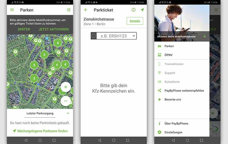 Handyparken: Screenshots PayByPhone