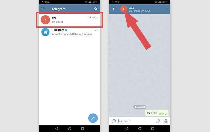 Telegram Screenshot Android Kontakt löschen