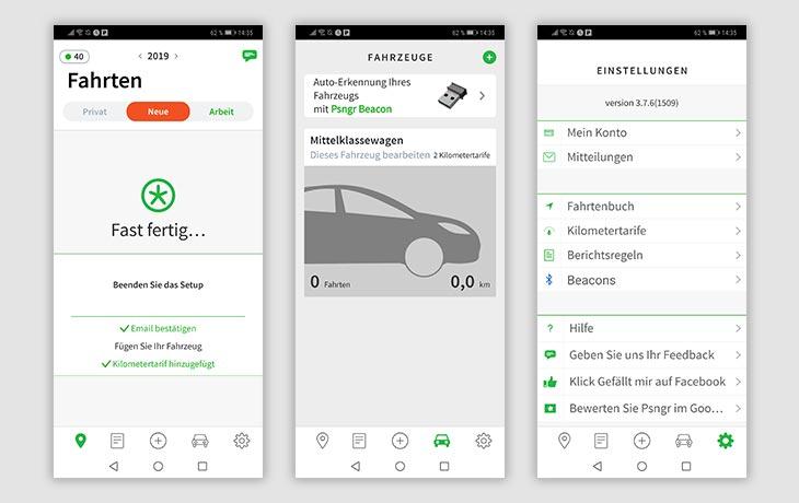 Fahrtenbuch-App: Screenshots Psngr