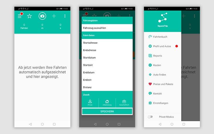 Fahrtenbuch-App: Screenshots Squaretrip