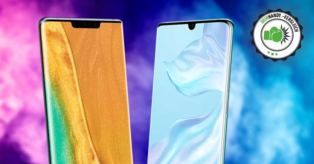 Huawei Mate 30 Pro vs. P30 Pro: Handys von vorne nebeneinander mit Stempel