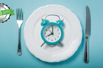 Intervallfasten-App: Teller mit Uhr und Besteck