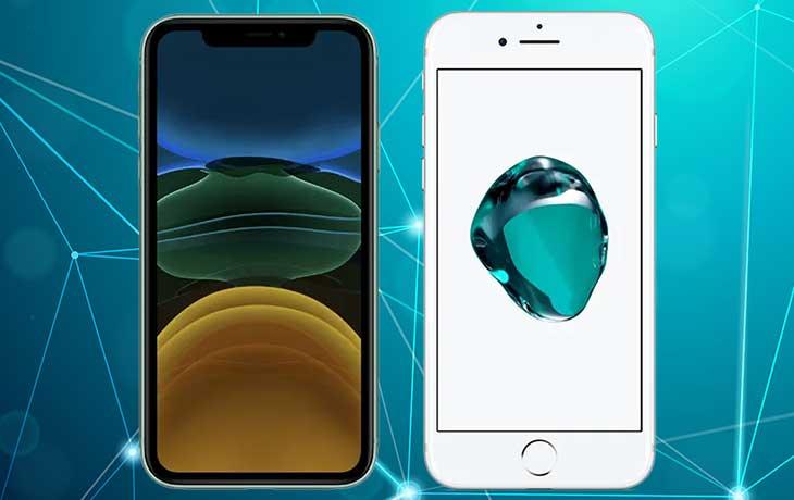 iPhone 11 vs. iPhone 7: Handys von vorne nebeneinander