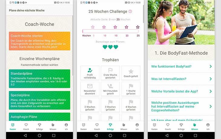 Intervallfasten-App; Screenshot BodyFast